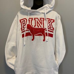 3/$40 PINK By VS White  & Rhinestone Hoodie